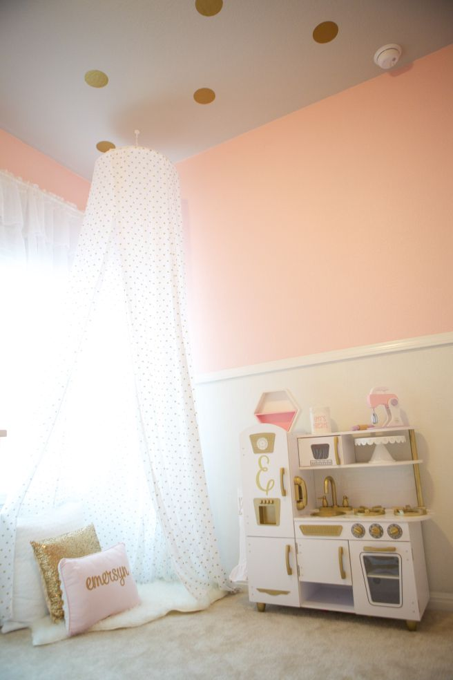 Emersyn's Baby Girl Room. Pink and Gold. Reading Nook, Updated Kidkraft Kitchen. Kitchen Makeover. Polka Dot Ceiling.
