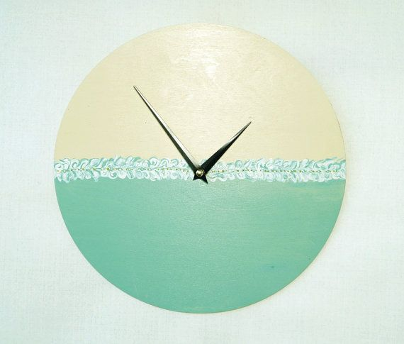 Wooden wall clock mint green acrylic painting  от ClockArtVintage