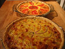 Today, quiche is considered as typically French. However, savoury custards in pastry were known in English cuisine at least as early as the fourteenth century. Recipes for custards baked in pastry containing meat, fish and fruit are referred to Crustardes of flessh and Crustade in the fourteenth-century The Forme of Cury[3] and in fifteenth-century cookbooks as well