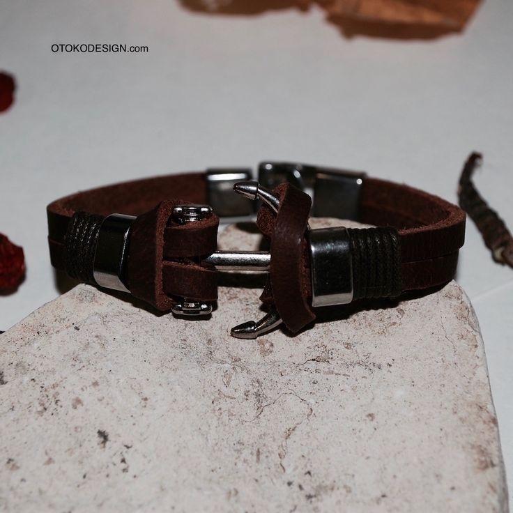 Купить Красивый коричневый браслет из натуральной кожи с морским якорем в интернет магазине бижутерии, аксессуаров и мужской одежды - Otokodesign.com