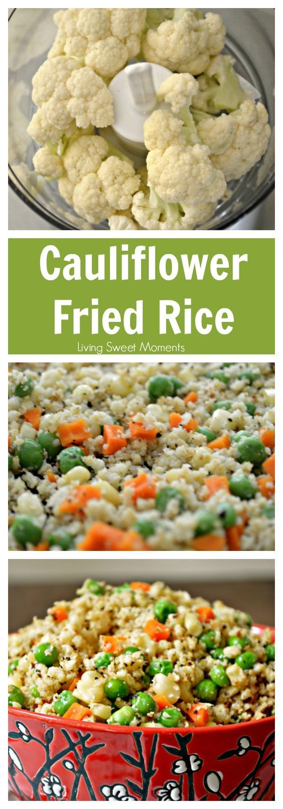 Cauliflower Fried Rice Recipe  Healthy lowcarb and seriously tasty! Tastes so much like the Chinese takeout but without the guilt. Perfect healthy side dish. More on livingsweetmoment...