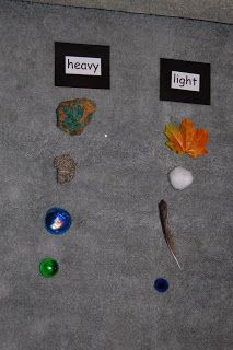Montessori Design: science Heavy and Light: In our classroom the objects are similar, such as two apples (one is light plastic the other is dense), two baseballs (one is solid and small & the other is large and thin plastic).