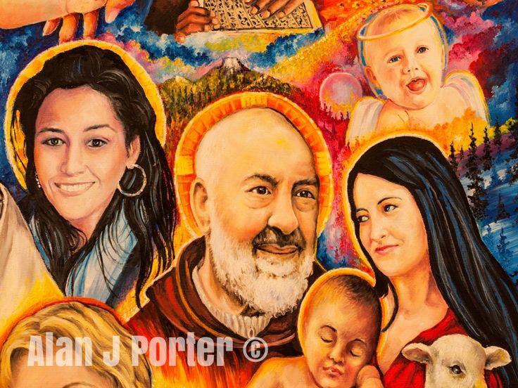 Padre Pio #alanjporterart #kompas #art #Saint #women #paintings #motherteresa #johnpaul #pope #padrepio #princess #men #ladydiana #aundreyhepburn