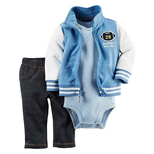 Baby Boy Clothes Carter's Baby Boys' 3 Piece Cardigan Set Football 6M