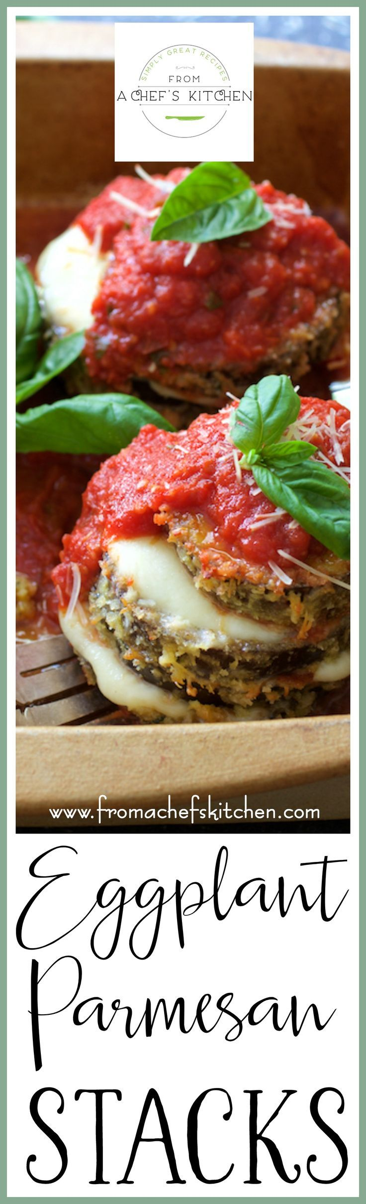 Eggplant Parmesan Stacks are a fresher and lighter way to enjoy an Italian classic! via @chefcarolb