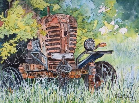 January 2014 Winners | Art Tutor Best In Class: Old Tractor, Gill Farquarson