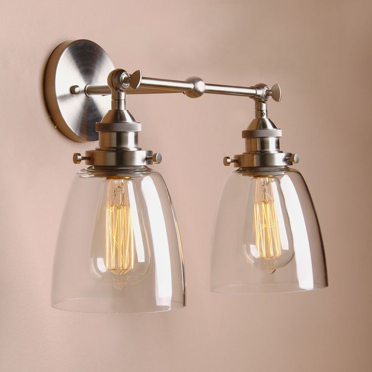 """PERMO 14.5"""" CLOCHE GLASS VINTAGE INDUSTRIAL DOUBLE ARM RUSTIC SCONCE WALL LIGHT #Permo #VintageRetro #IndoorIP20"""