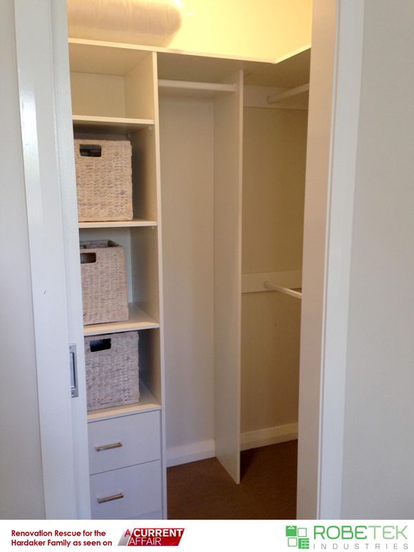 GEORGIA HARDAKER'S NEW WALK-IN WARDROBE DONATED BY ROBETEK INDUSTRIES. Renovation Rescue for the Hardaker family as seen on A Current Affair. Call 02 9608 8899 for FREE MEASURE & QUOTE (Sydney metro area)