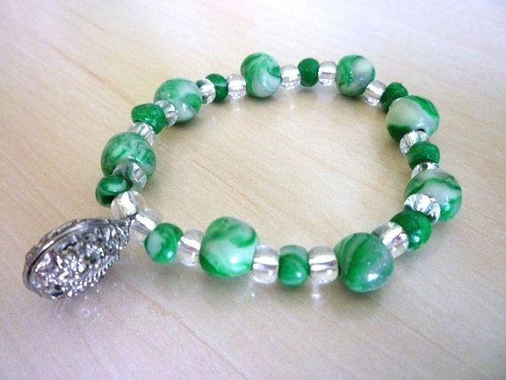 elegant Bracelet in Fimo polymer clay green beads by ByAzalea, 10.00