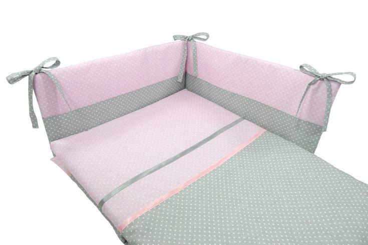 Parure de lit bébé en rose et gris à pois