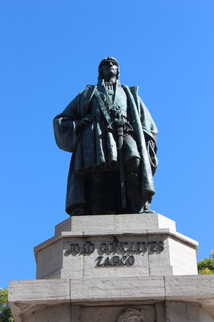 Madeira, Funchal. Statue of Gonsalves Zarco, discoverer of Madeira in the 1400's.