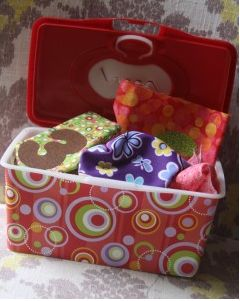 genius! You know how babies like to pull all the tissues or wipes out of the container- well turn it into a game; but with fabric scraps. You can also use it as a way to introduce numbers and colors.