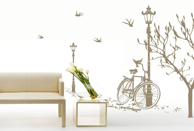 Wall Decals Lamp and Bicycle- WALLTAT.com Art Without BoundariesWall Art, Wall Decor, Decor Ideas, Wall Murals, Wall Decals, Roadside Scene, Stickers Lampadaire, Wall Stickers, Scene Wall