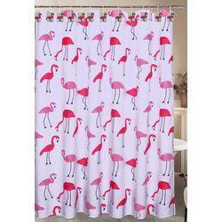 Caribbean Joe Flamingo Shower Curtain Hook Set Flamingo Shower