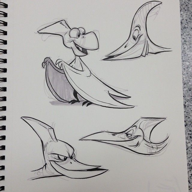Some #pterosaur doodles #characterdesign #breaksketch #brushpen #cartoon #dinosaur