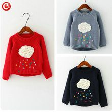 2016 Children Girls Winter Sweaters Cloud Riandrop Knitwear For Toddler Kids Boys Warm Cardigan Pullover Christmas Warm Clothes(China (Mainland))