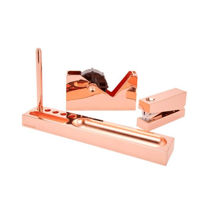 Tom Dixon's copper-plated Cube Desk Tidy set. Taking office-accessories seriously and being the envy of your colleagues!
