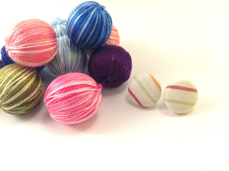 Colorful fabric covered button earrings with by Mariabuttons