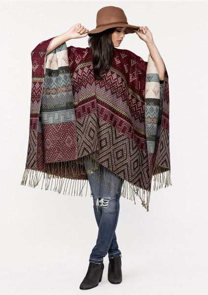 Front Atlas Poncho in Coffee