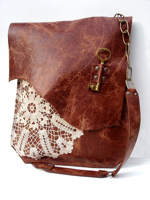 XL Boho Leather Messenger Bag with Crochet Lace & Vintage   If I had $260...