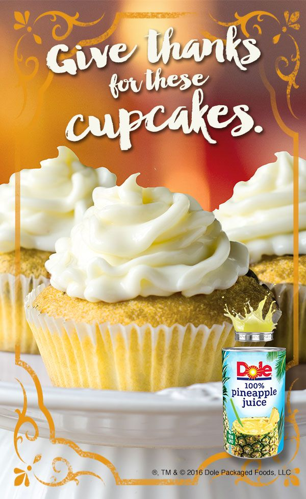 Try a little island flavor this Thanksgiving with this PINEAPPLE CINNAMON CUPCAKE recipe made with DOLE® Canned 100% Pineapple Juice. #KINGofJUICES