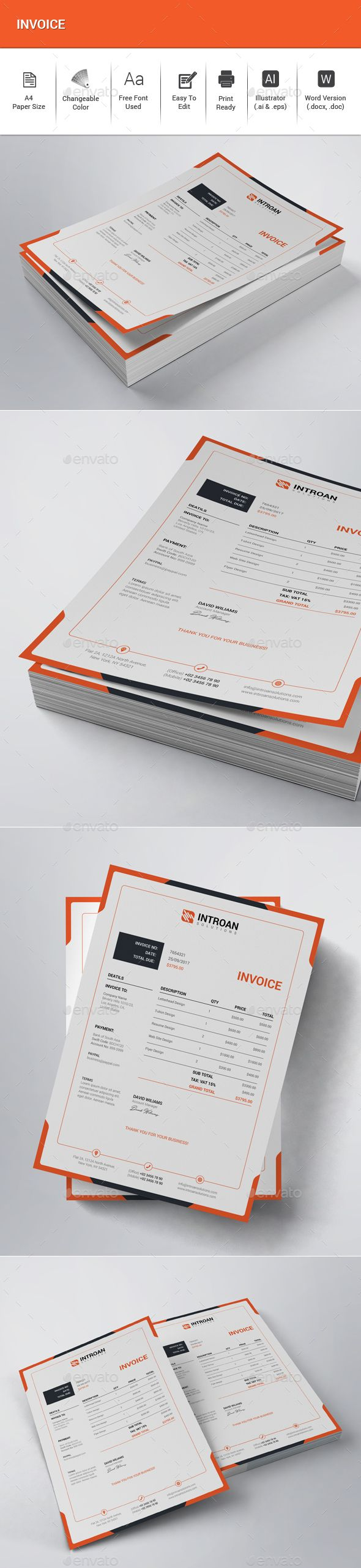 Invoice — Vector EPS #payment #orange • Available here → https://graphicriver.net/item/invoice/20728512?ref=pxcr