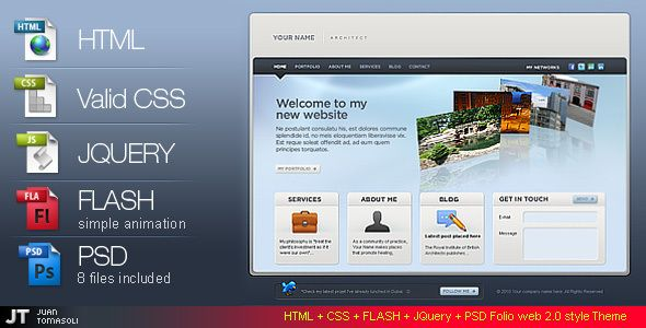 Folio web 2.0 style / HTML VERSION /   http://themeforest.net/item/folio-web-20-style-html-version-/92648?ref=damiamio       Latest News! Wordpress version coming soon     Features:  1.  XHTML & CSS valid  2. jQuery  3. Cufon  4. Cufon Font  5. jQuery Lightbox  6. Tipsy Tooltip  7. jQuery Validation Plugin   PSD Files  – The file are good organized in folders for easy to change color palettes or content.  – 8 psds files included   Good and organized Documentation   Note: FB app is not…