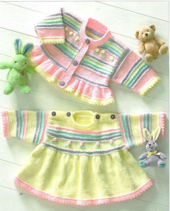Knitting Pattern Re-Born Doll, Premie Baby-Child Vestido, Cardigan INSTRUCCIONES PDF