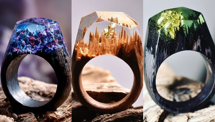 Gorgeous Whimsical Worlds Inside Wooden Rings by Secret Wood