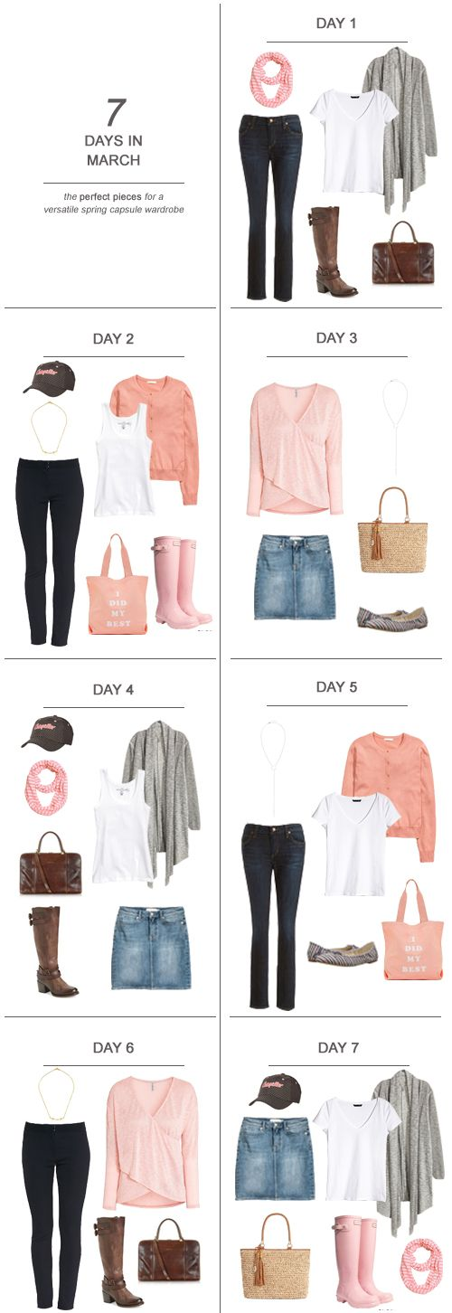 Here's some solid and affordable capsule wardrobe pieces (and a couple of investments) for a few looks perfect for a stay-at-home mom: 7 Days in March
