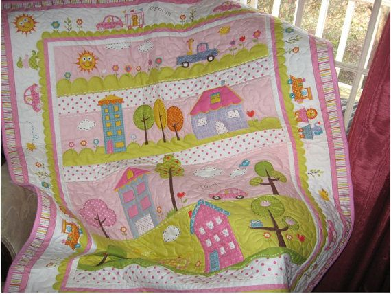 Baby girl quilt nursery blanket  Dena Happi quilt by quiltcountry, $95.00