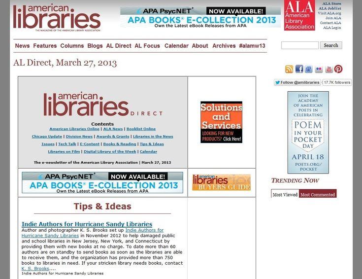 American Library Association Acknowledges Hurricane Sandy Effort