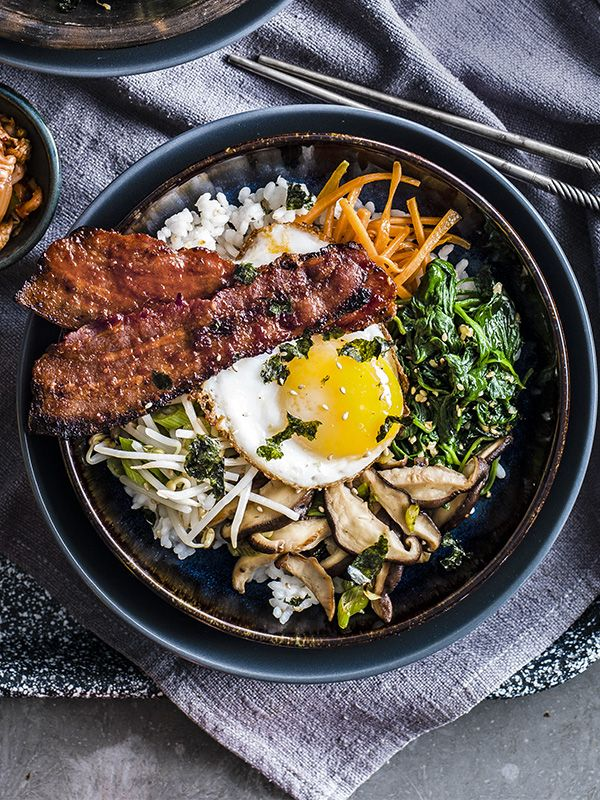 We've given a classic flavour combination a new twist with this bacon and egg bibimbap. Prep all the veg before cooking the rice, so it stays warm while you cook the toppings.
