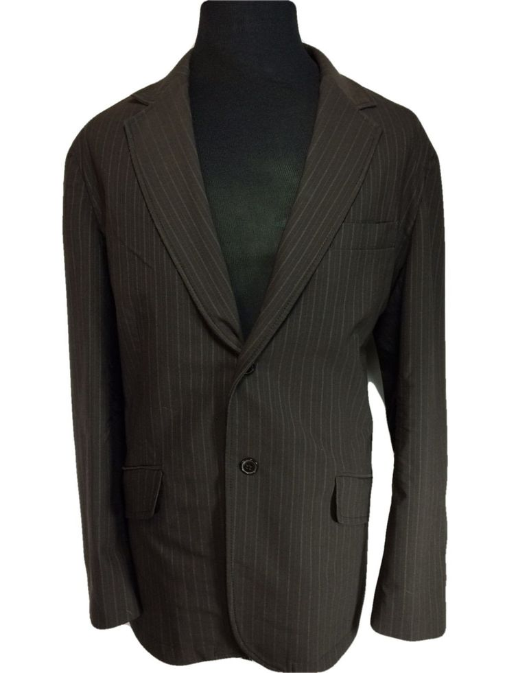 International Concepts Two Button Casual Sport Coat Brown Pinstripe Striped - XL