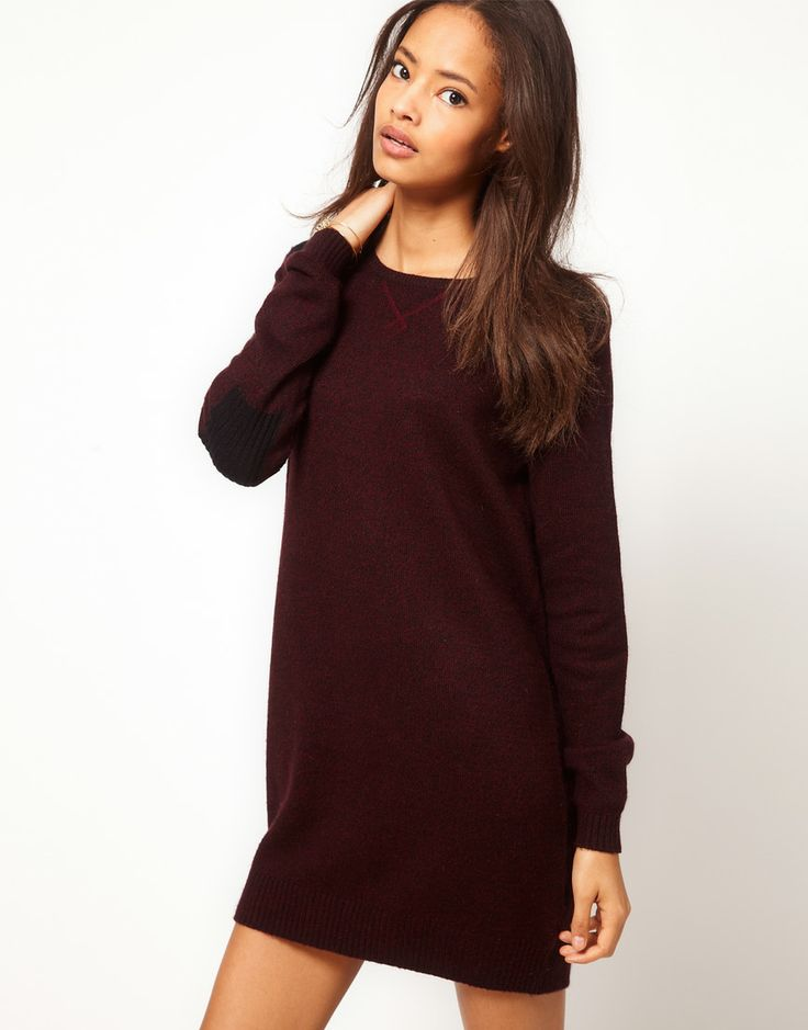 ASOS Knitted Dress With Sweatshirt Details