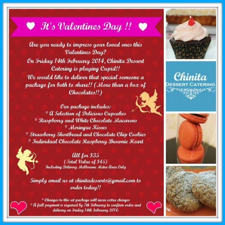 Valentines day special! Chinita Dessert Catering is pkaying Cupid this year!! We deliver to Melbourne Metro Area only.