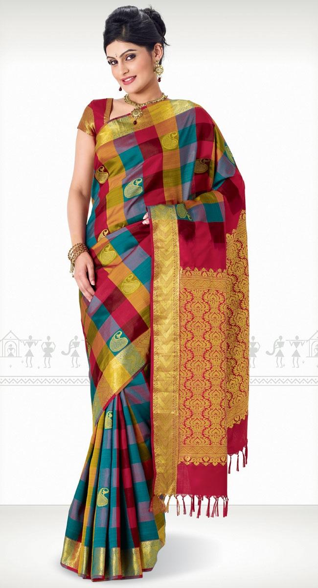 Chandhini Kanchipuram Saree http://www.harinisilks.com/chandhini-kanchipuram-saree.html
