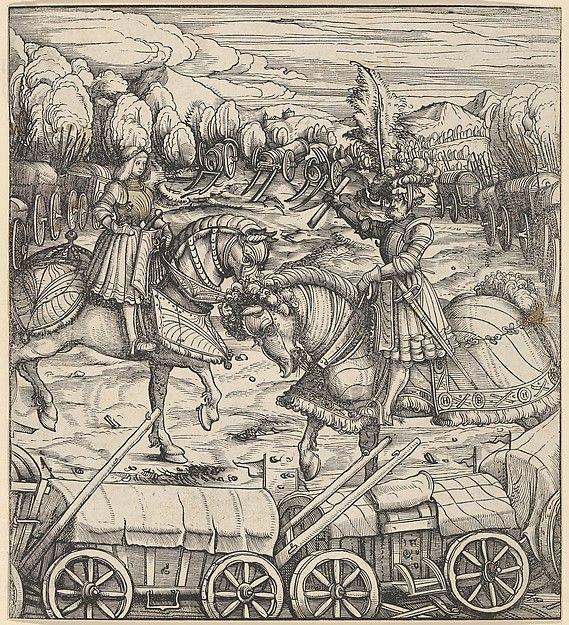 The White King Learning to Enclose a Camp with Wagons, from Der Weisskunig Hans Burgkmair (German, Augsburg 1473–1531 Augsburg) Engraver: Jost de Negker (1480–1546) Author: Written by Marx Treitz-Sauerwein von Ehrentreitz (died 1527) Date: 1514–16 Medium: Woodcut; proof (Hollstein) Dimensions: Sheet: 8 3/4 × 7 15/16 in. (22.2 × 20.2 cm) Classification: Prints Credit Line: Rogers Fund, 1917 Accession Number: 17.72.40