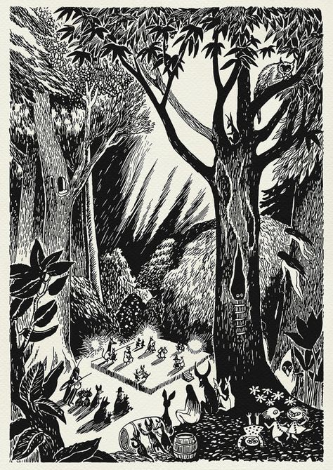 Woodland magic ,a dance in the trees, partying a la moomin. Tove Jansson