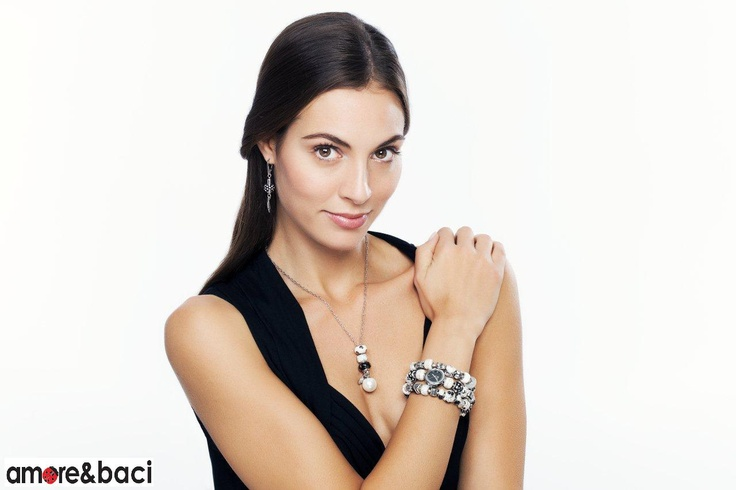 Amore & Baci 2013 campaign - BLACK and WHITE beads - necklace, earrings, watch and bracelets