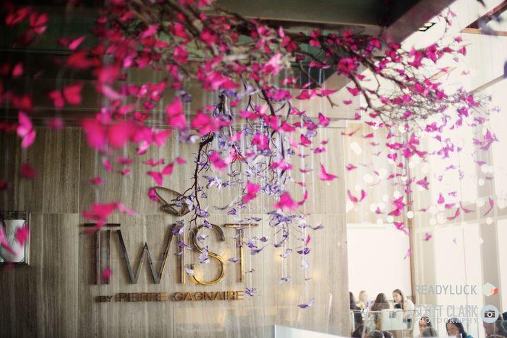 Beautiful butterfly decor at Twist Restaurant @MO_LasVegas #Engage12