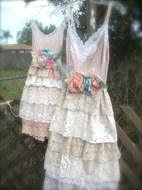 wedding or bridesmaid dresses from dyed petticoats and various laces on etsy.