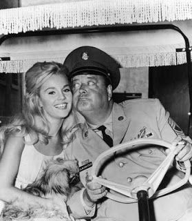 With a mooning Jackie Gleason on the set of SOLDIER IN THE RAIN