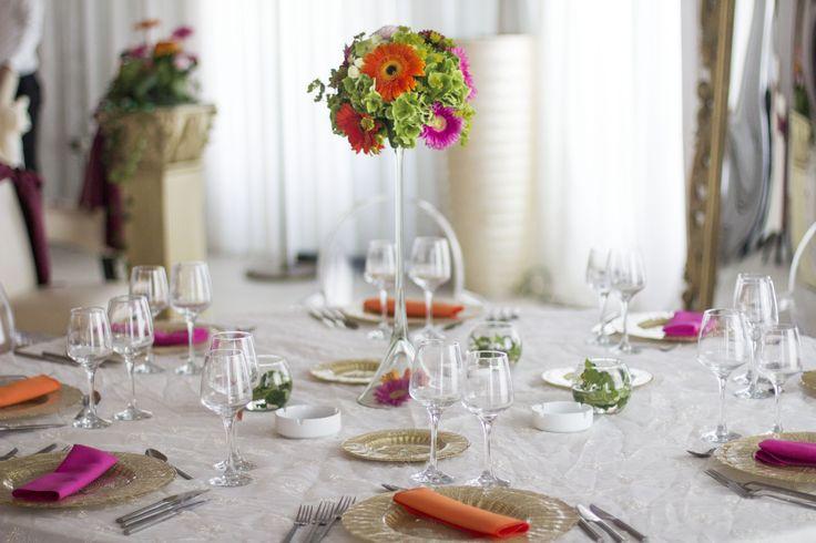 Pink and Orange Gerbera Tall Upside Down Martini Glass Table Arrangement