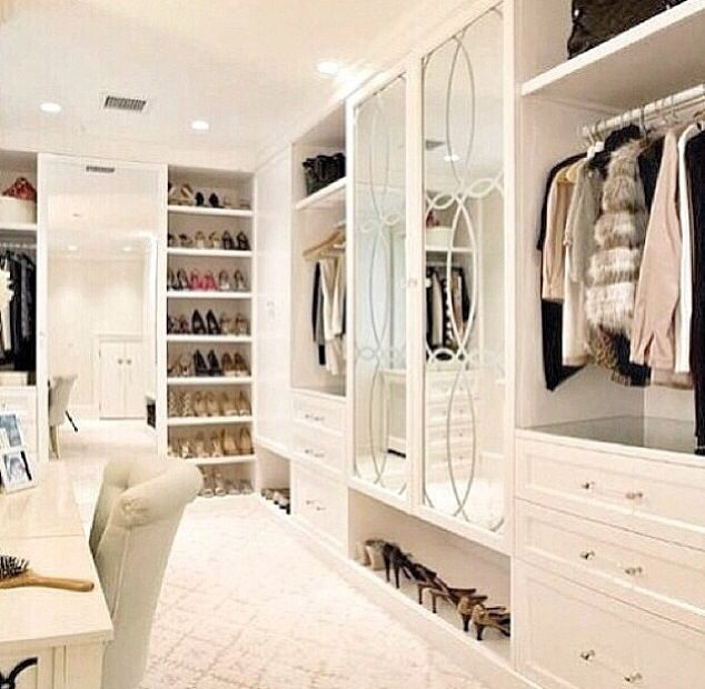 28 Dreamy Home Offices With Libraries For Creative Inspiration: White Closet- THIS, But I Would End It Where The Door Is And Add More Space For Shoes And Boot