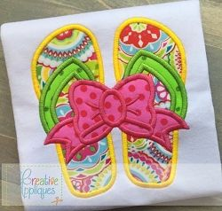 Flip Flops Bow Applique - 4 Sizes! | What's New | Machine Embroidery Designs | SWAKembroidery.com Creative Appliques