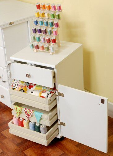 Suzi White Sewing Machine Accessory Storage Cabinet   Overstock™ Shopping    Big Discounts On Arrow Sewing Storage