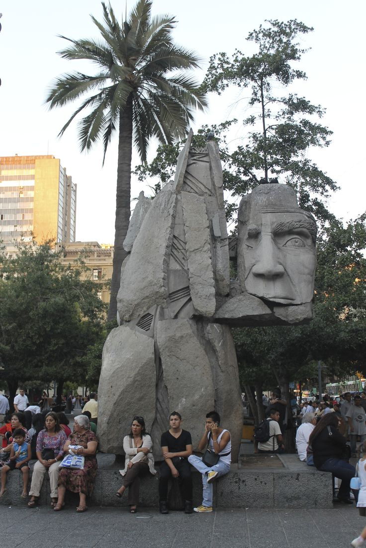 Monument to the Indigenous People by the sculptor Enrique Villalobos in honor of Chile's Mapuche peoples in the Plaza de Armas - #Santiago #Chile