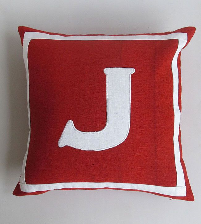 red and white monogrammed initial pillows -12 &  14 inches cushion cover  CUSTOM MADE to colour of your choice. by Comfyheavenpillows on Etsy https://www.etsy.com/listing/103958876/red-and-white-monogrammed-initial