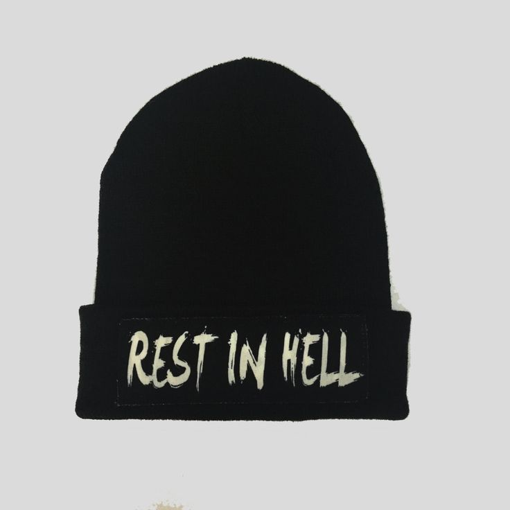 Rest In Hell Gothic Style Winter Beanie Headwear Hipster Indie Swag Dope Hype Black Hat Beanie Mens Womens Cute Slouchy Hat by IIMVCLOTHING on Etsy